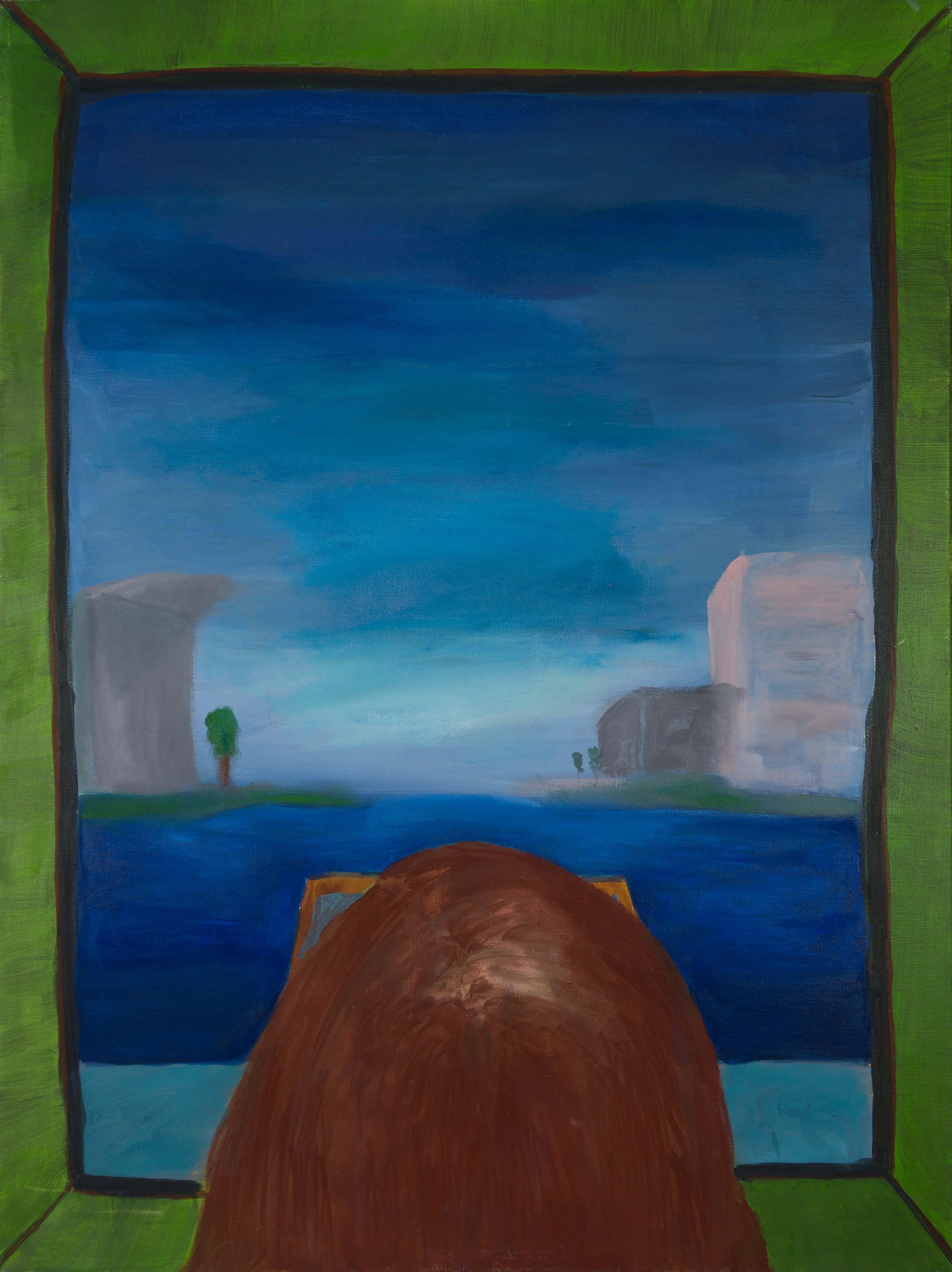 Malerei, Öl auf Leinwand, 80cm x 100cm, Menschenkopf von hinten blickt durch Fenster auf abstrahierte Landschaft, artist: Franziska King
