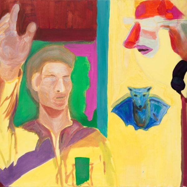 Malerei, Öl auf Leinwand, 70cm x 50cm, Mann, Clownmaske und blaue Fledermaus, artist: Franziska King