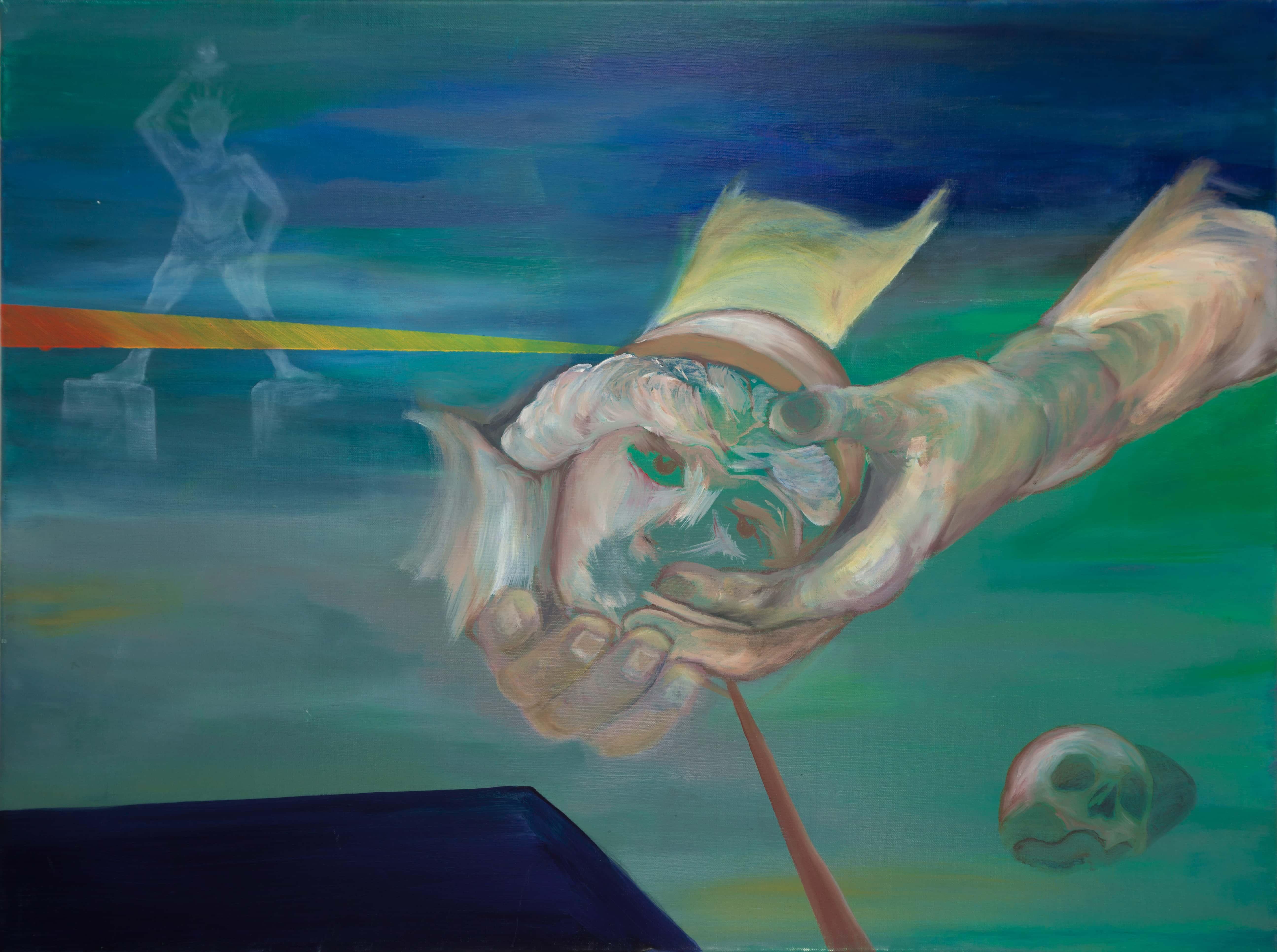 Malerei, Öl auf Leinwand, 80cm x 60cm, Koloss von Rhodos im Hintergrund , Hände mit Kopf im Vordergrund, artist: Franziska King