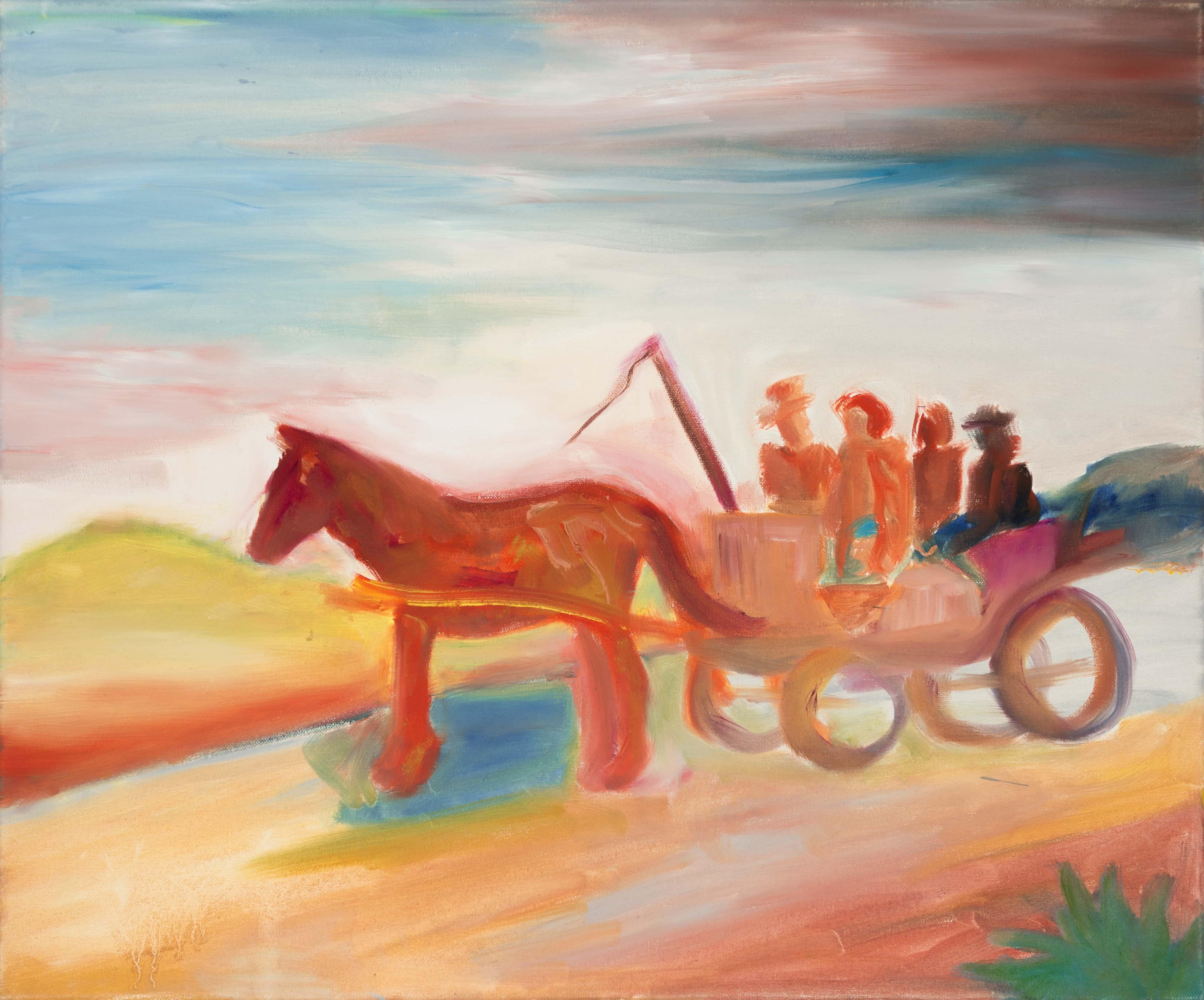 Malerei, Öl auf Leinwand, 60cm x 50cm, 4 Figuren auf Pferdekutsche, artist: Franziska King