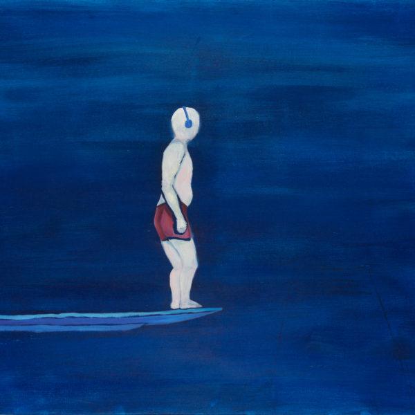 Malerei, Öl auf Leinwand, 100cm x 80cm, Mann auf dem Sprungbrett im Schwimmbad, artist: Franziska King