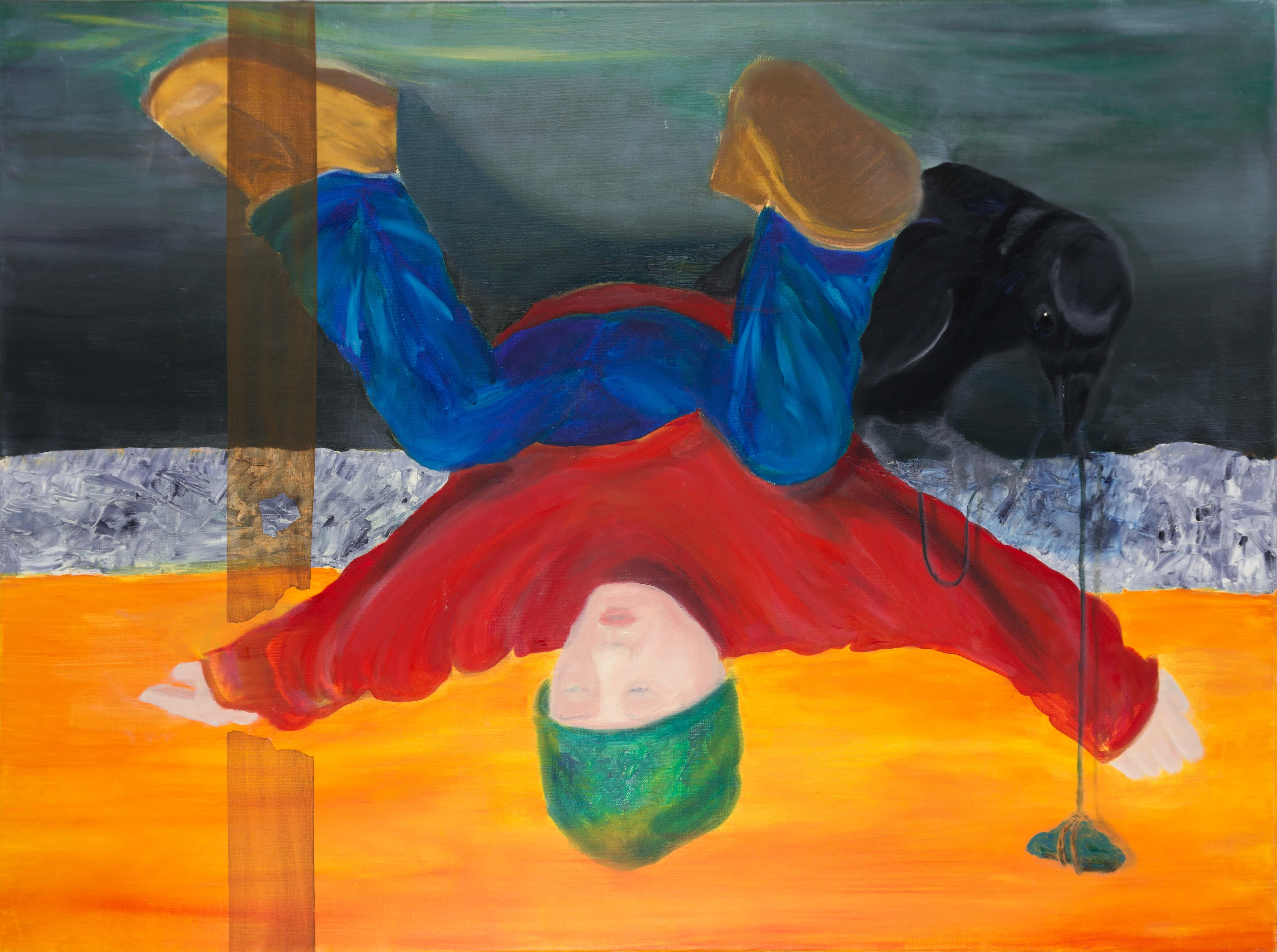 Malerei, Öl auf Leinwand, 80cm x 60cm, Figur kopfüber hängend mit Raben, artist: Franziska King