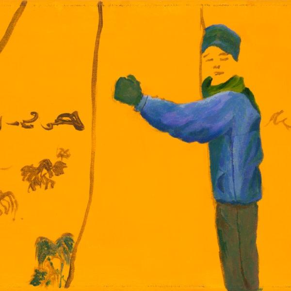 Malerei, Öl auf Leinwand, 40cm x 20cm, Figur umarmt Baum, artist: Franziska King