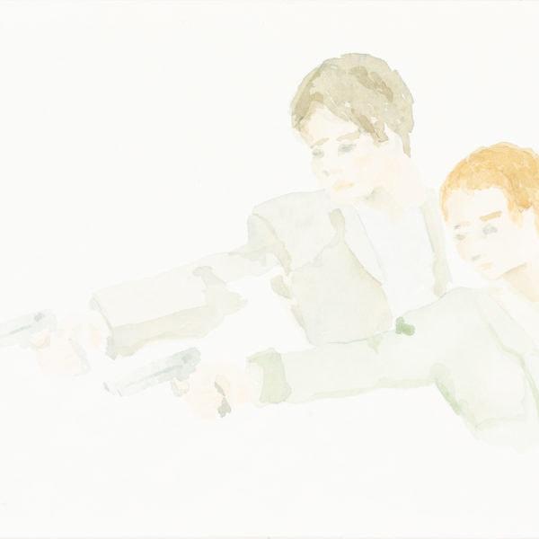 Malerei, Aquarell auf Papier, 30cm x 15cm, Szene aus Bonnie und Clyde, artist: Franziska King