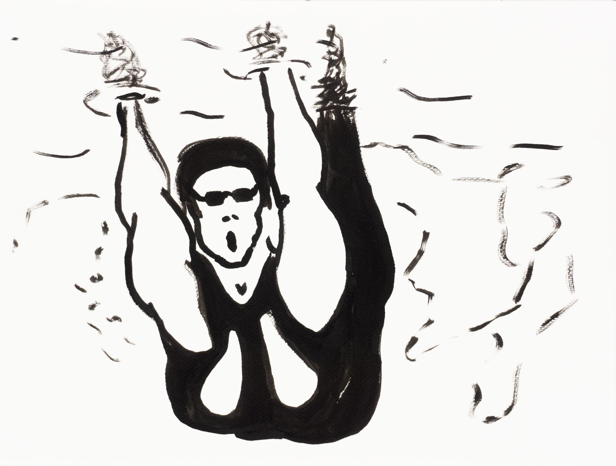 Zeichnung, Tusche auf Papier, 32cm x 24cm, Wettkampfschwimmerin beim Start, artist: Franziska King