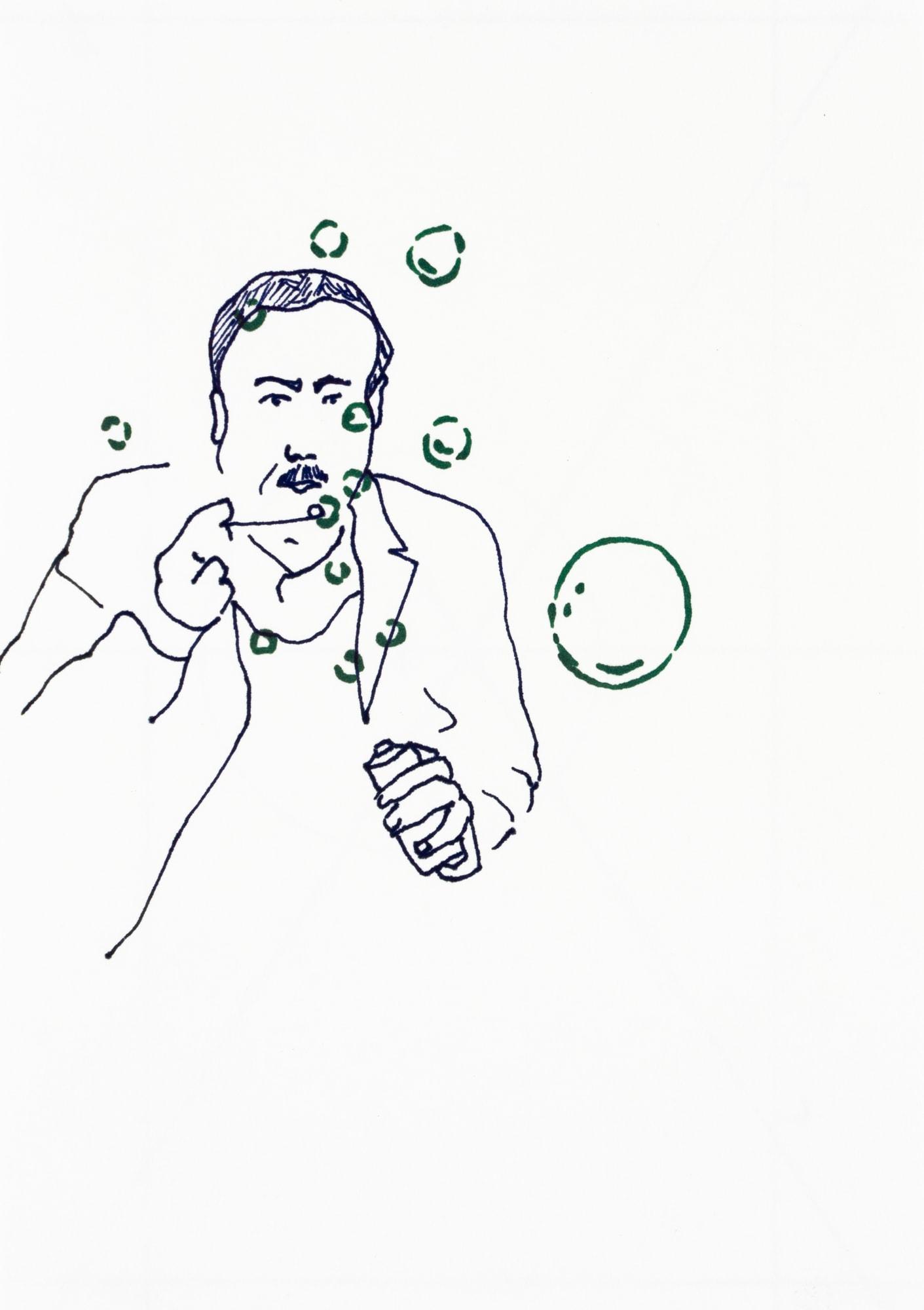 Malerei, Marker auf Papier, 14,8cm x 21cm, Mann mit Seifenblasen, artist: Franziska King