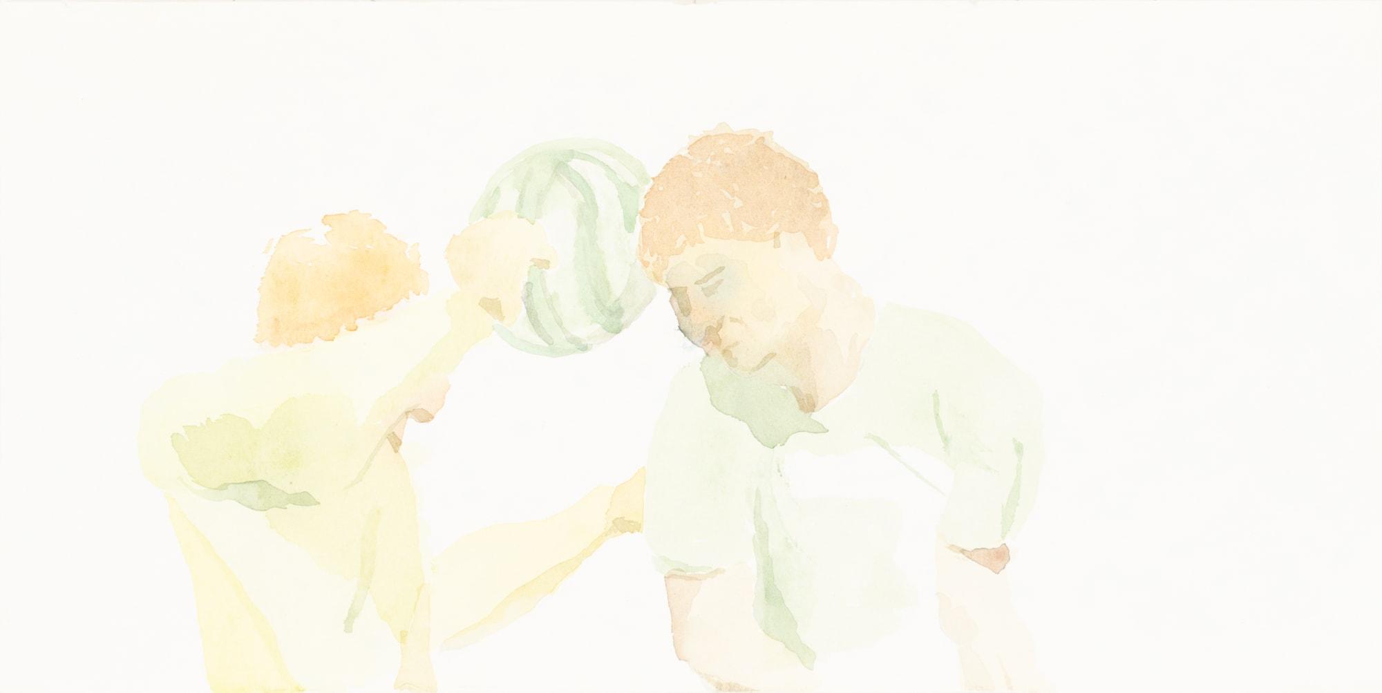 Malerei, Aquarell auf Papier, 30cm x 15cm, Basketball mit Melone, artist: Franziska King