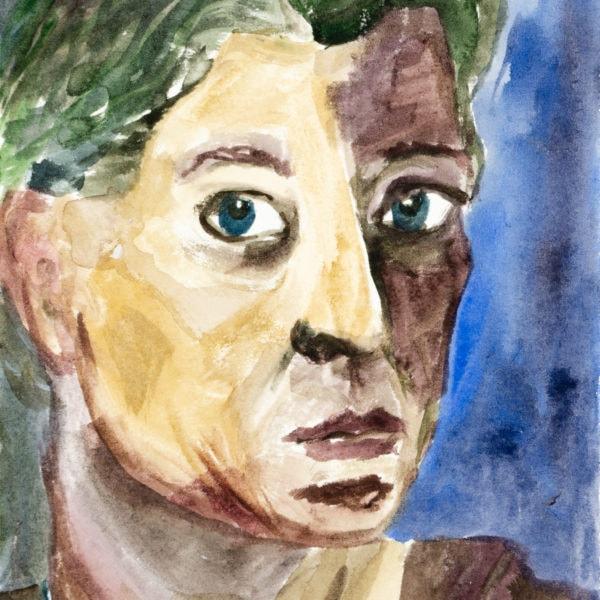 Malerei, Aquarell auf Papier, 12cm x 16cm, Selbstportrait, artist: Franziska King