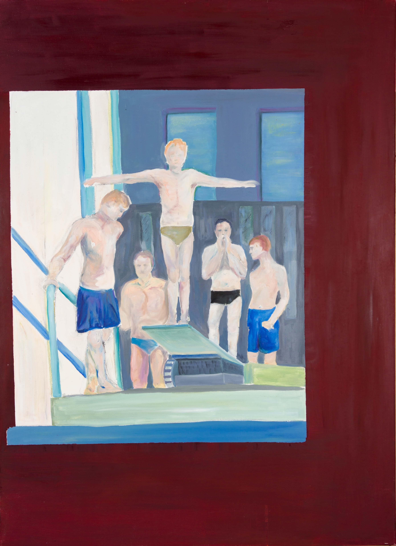 Malerei, Öl auf Leinwand, 80cm x 110cm, Burschen auf Sprungturm im Schwimmbad , artist: Franziska King