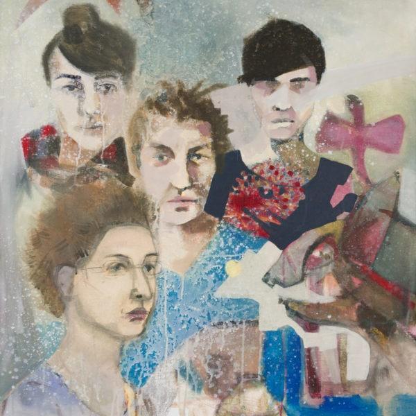 Malerei, Acryl auf Leinwand, 89cm x 110cm, 4 Künstlern portraitieren sich gegeseitig, artist: Franziska King