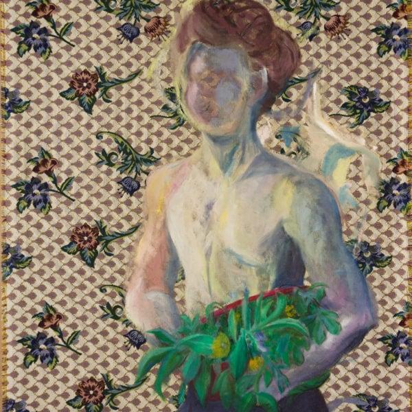 Malerei, Öl auf Gobelin, 91cm x 108cm, Figur mit Blumen auf Gobelin, artist: Franziska King