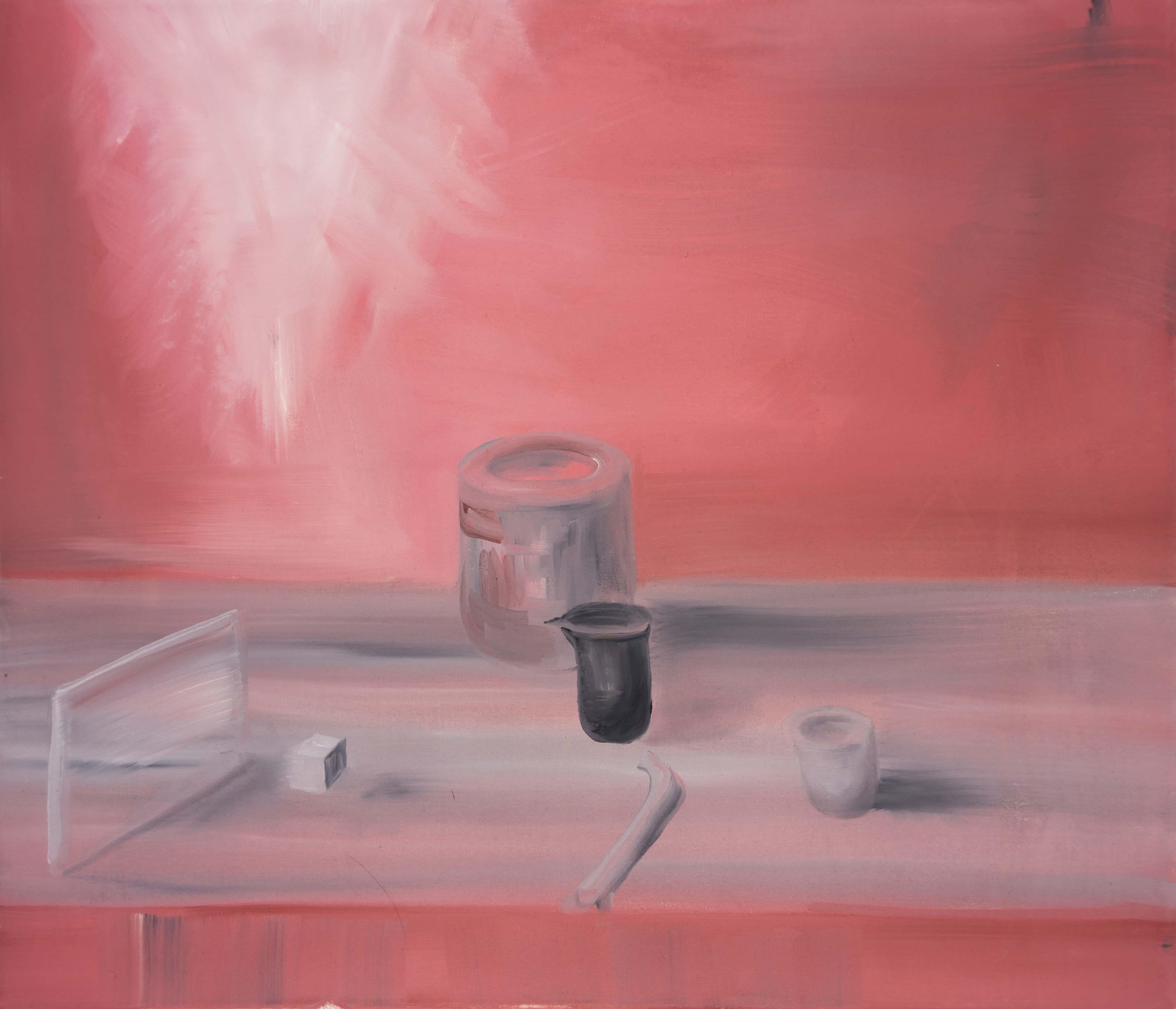 Malerei, Öl auf Leinwand, 70cm x 60cm, Stilleben vor rotem Hintergrund, artist: Franziska King