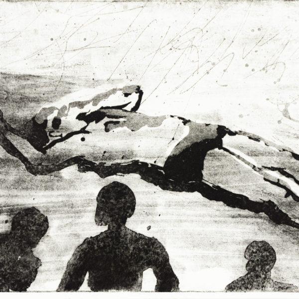 Radierung, 24cm x 17cm, Figuren beobachten einen gestrandeten Mann, artist: Franziska King