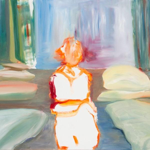 Malerei, Öl auf Leinwand, 100cm x 80cm, Figur vor Wasserfall, artist: Franziska King