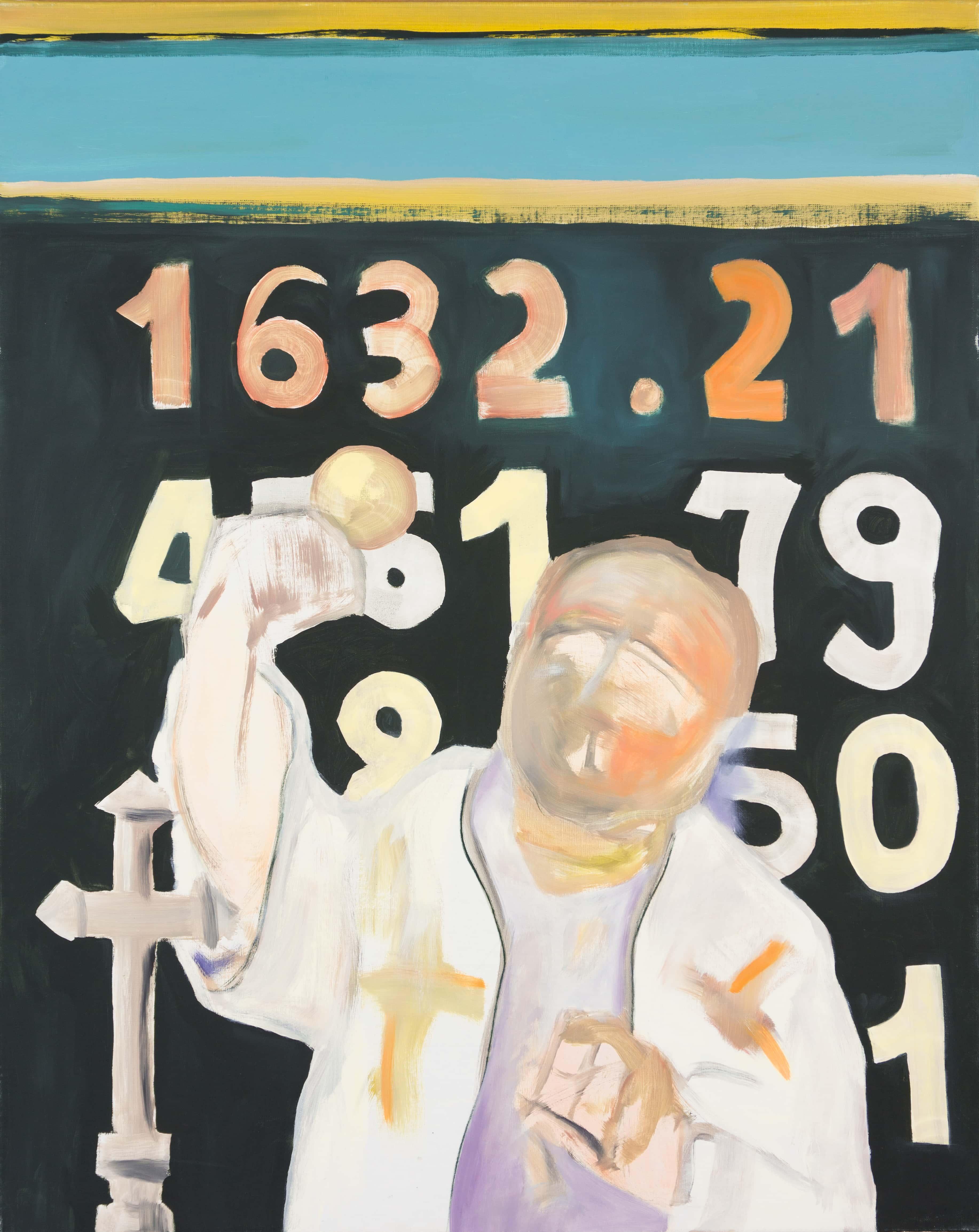 Malerei, Öl auf Leinwand, 80cm x 100cm, Prediger mit geballter Faust, artist: Franziska King