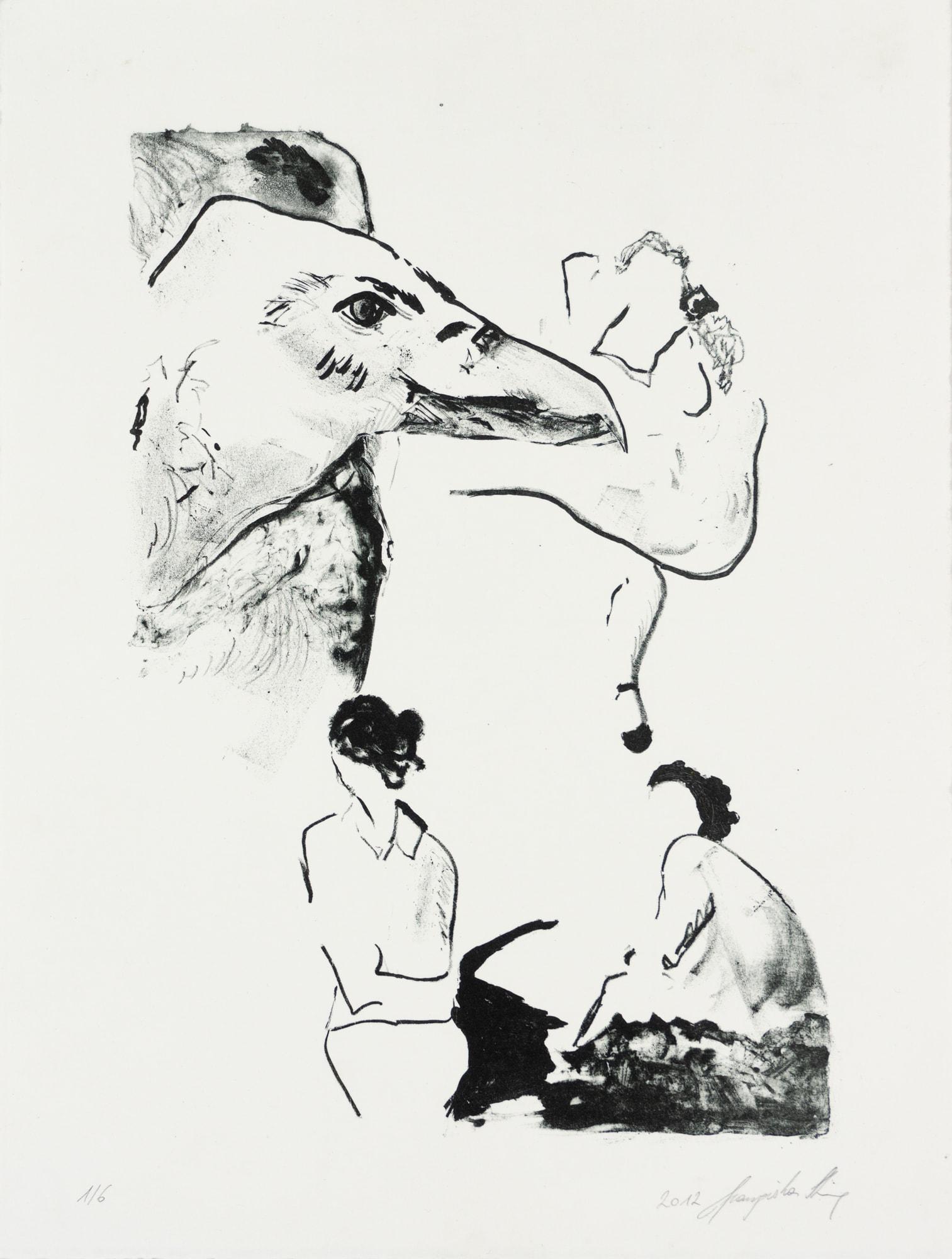 Lithographie, 29cm x 38cm, Rabe mit Frauen, artist: Franziska King