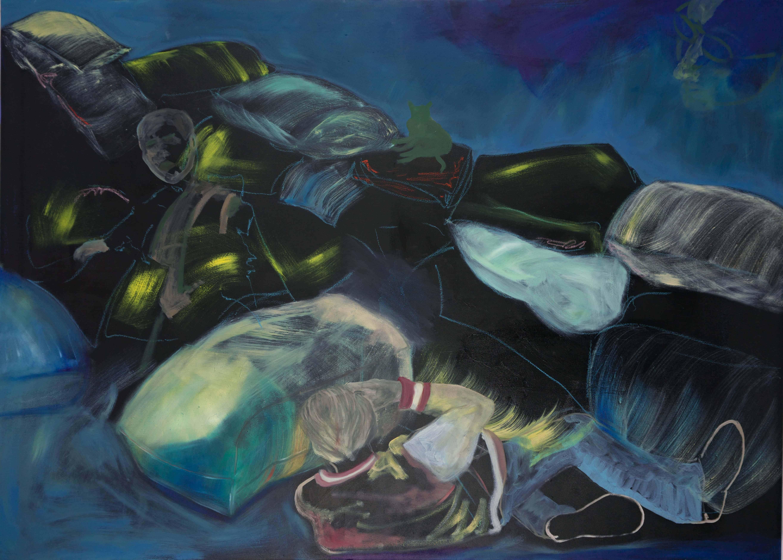 Malerei, Öl auf Leinwand, 140cm x 1000cm, zwei Personen an Sandsackbarriere gegen Hochwasser, artist: Franziska King