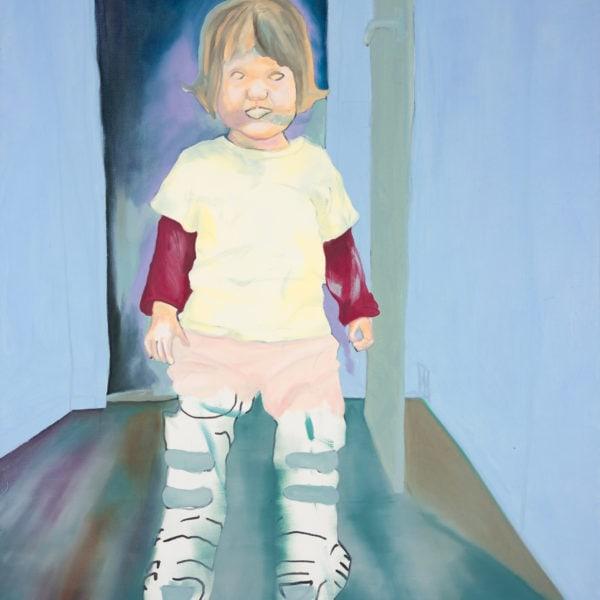 Malerei, Öl auf Leinwand, 110cm x 140cm, kleines Mädchen mit Schischuhen, artist: Franziska King