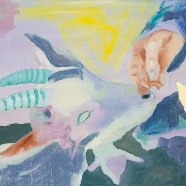 Malerei, Öl auf Leinwand, 100cm x 80cm, weisse Ziege schnuppert an Hand, artist: Franziska King