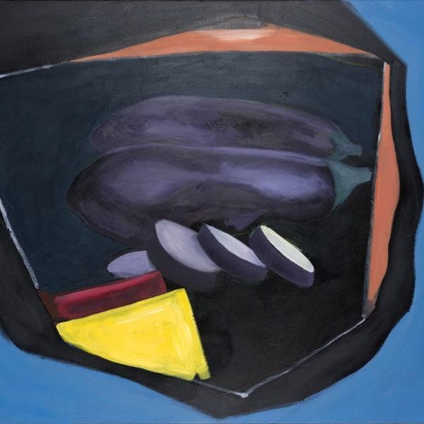 Malerei, Öl auf Leinwand, 100cm x 70cm, stilisierte Werbung für Auberginen, artist: Franziska King