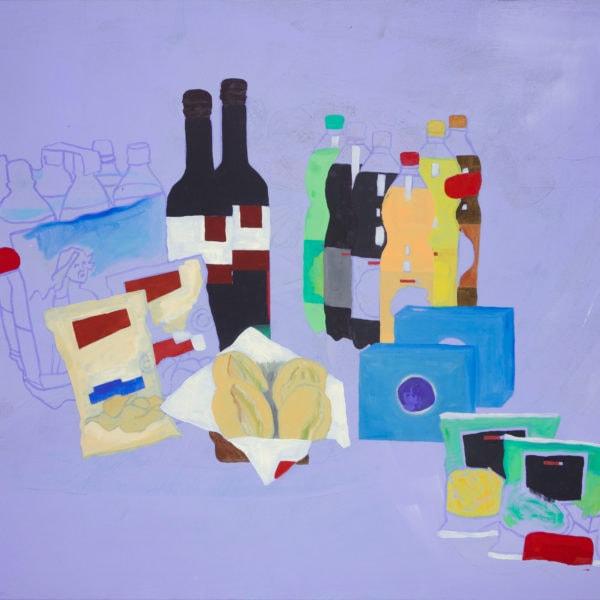 Malerei, Öl auf Leinwand, 120cm x 100cm, stilisierter Werbeprospekt, artist: Franziska King