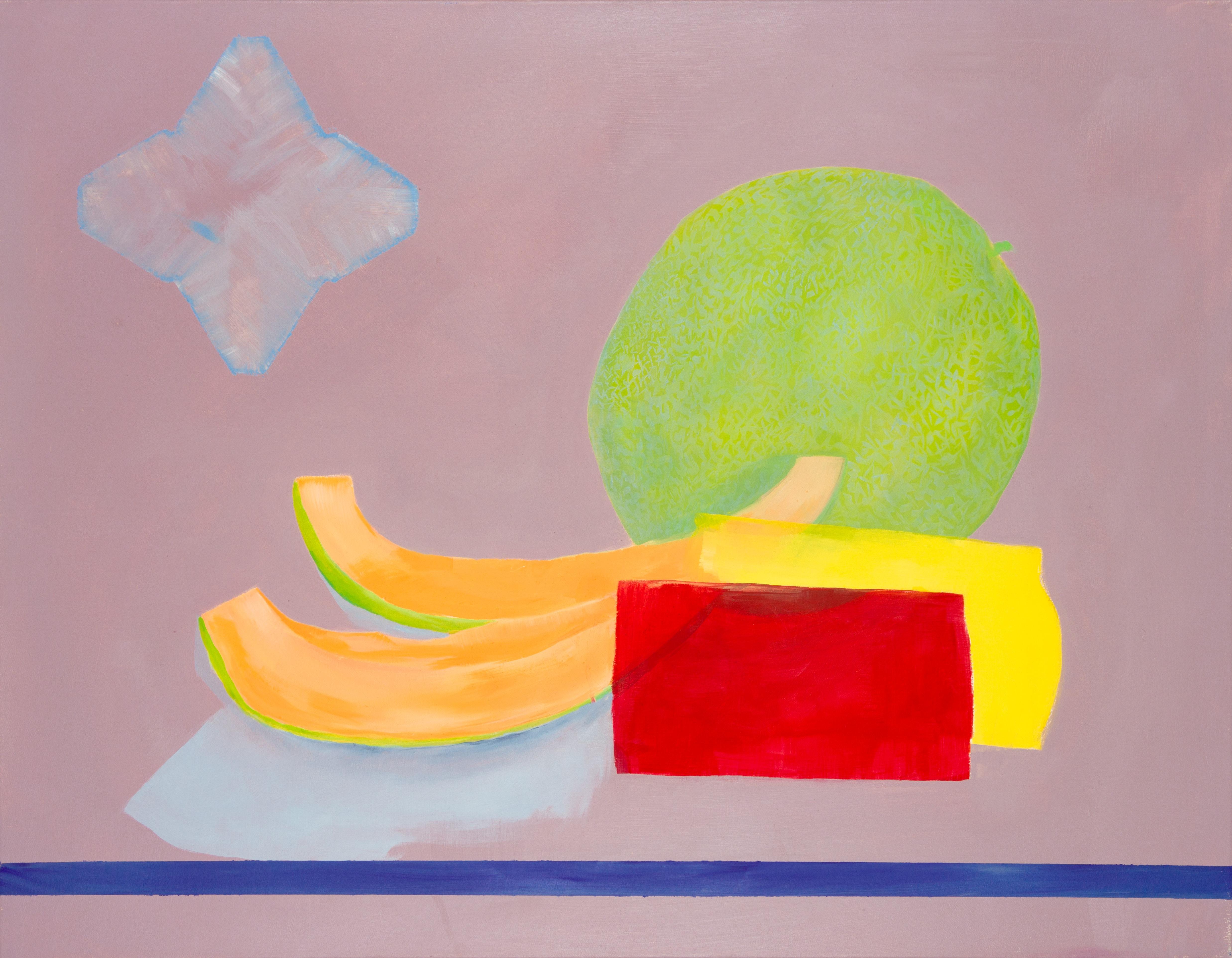 Malerei, Öl auf Leinwand, 90cm x 70cm, stilisierte Werbung für Zuckermelone, artist: Franziska King