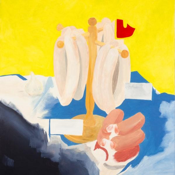 Malerei, Öl auf Leinwand, 100cm x 110cm, stilisierte Werbung für Würstel, artist: Franziska King