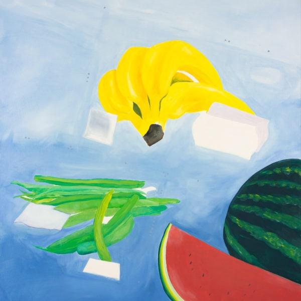 Malerei, Öl auf Leinwand, 100cm x 110cm, stilisierte Werbung für Bananen, artist: Franziska King