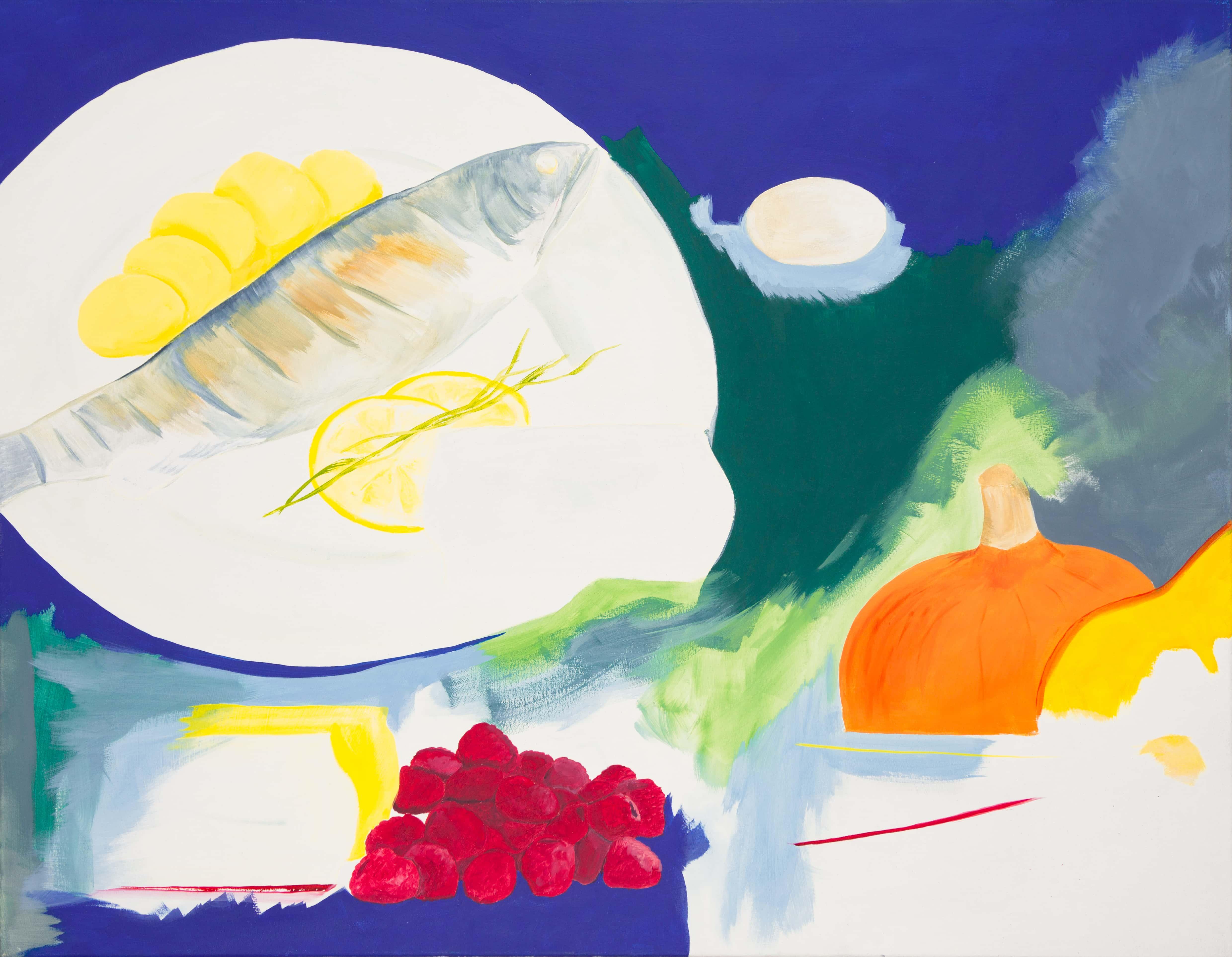 Malerei, Öl auf Leinwand, 90cm x 70cm, stilisierte Werbung für Fisch, artist: Franziska King
