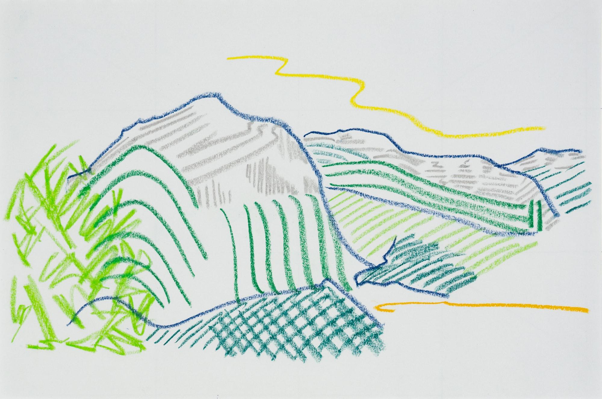 Zeichnung, Farbstift und Ölkreide auf Papier, 42x29,2cm, Landschaft, Künstlerin: Franziska King