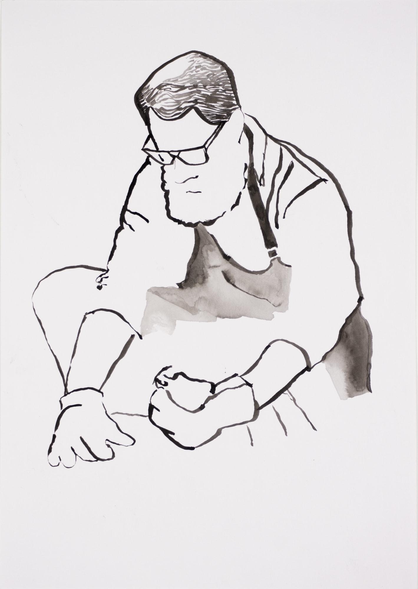Zeichnung, Tusche auf Papier, 21x29,7cm, Portrait, Künstlerin: Franziska King