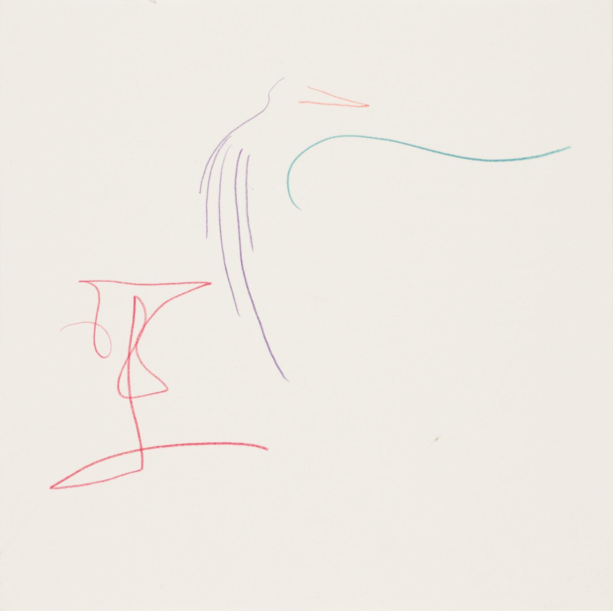 Zeichnung, Farbstift auf Papier, 20x20cm, abstraktes Tier, Künstlerin: Franziska King