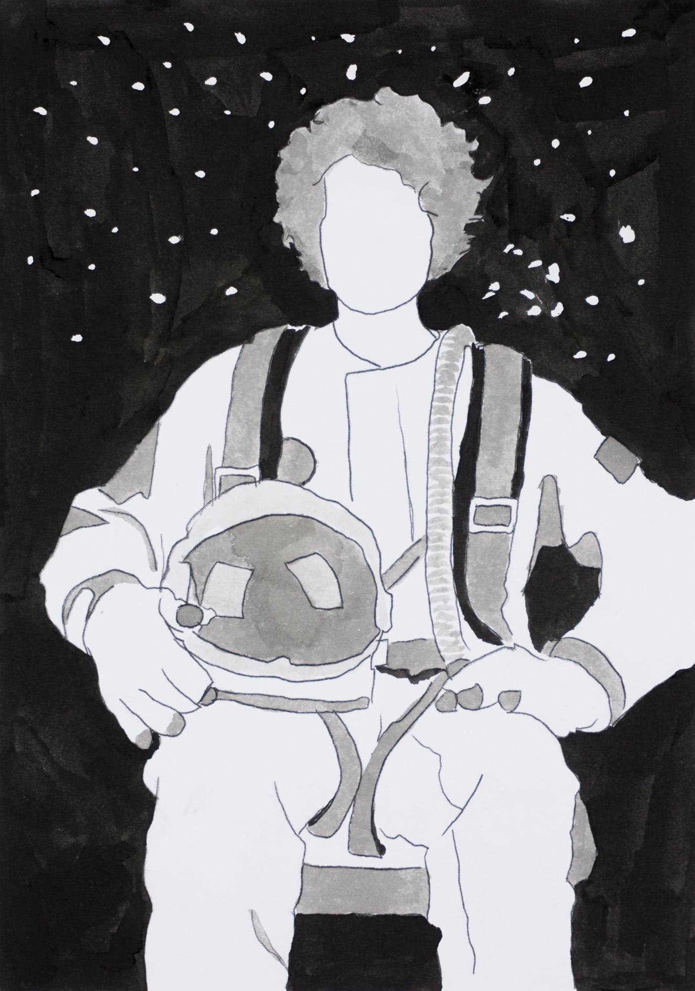 Zeichnung, Tusche auf Papier, 14,8x21cm, Astronaut, Künstlerin: Franziska King