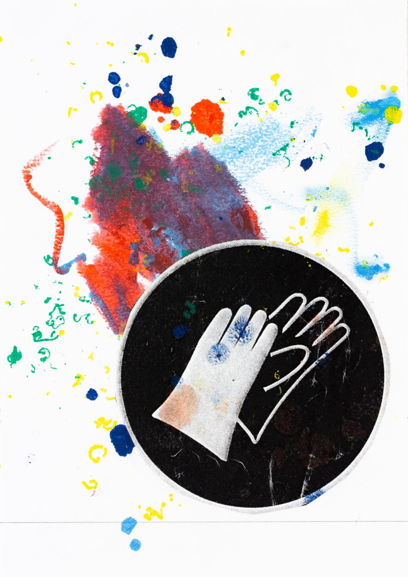 Collage und Ölkreide auf Papier, 21x14,8cm, Collage mit Handschuh, Künstlerin: Franziska King