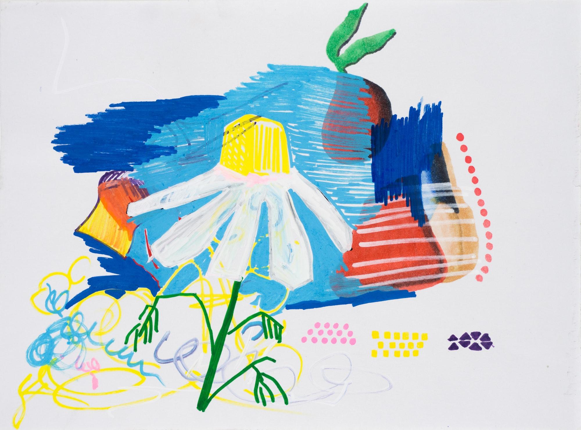 Zeichnung, Acrylmarker auf Papier, 28,5x21cm, Blüte vor farbigem Hintergrund, Künstlerin: Franziska King