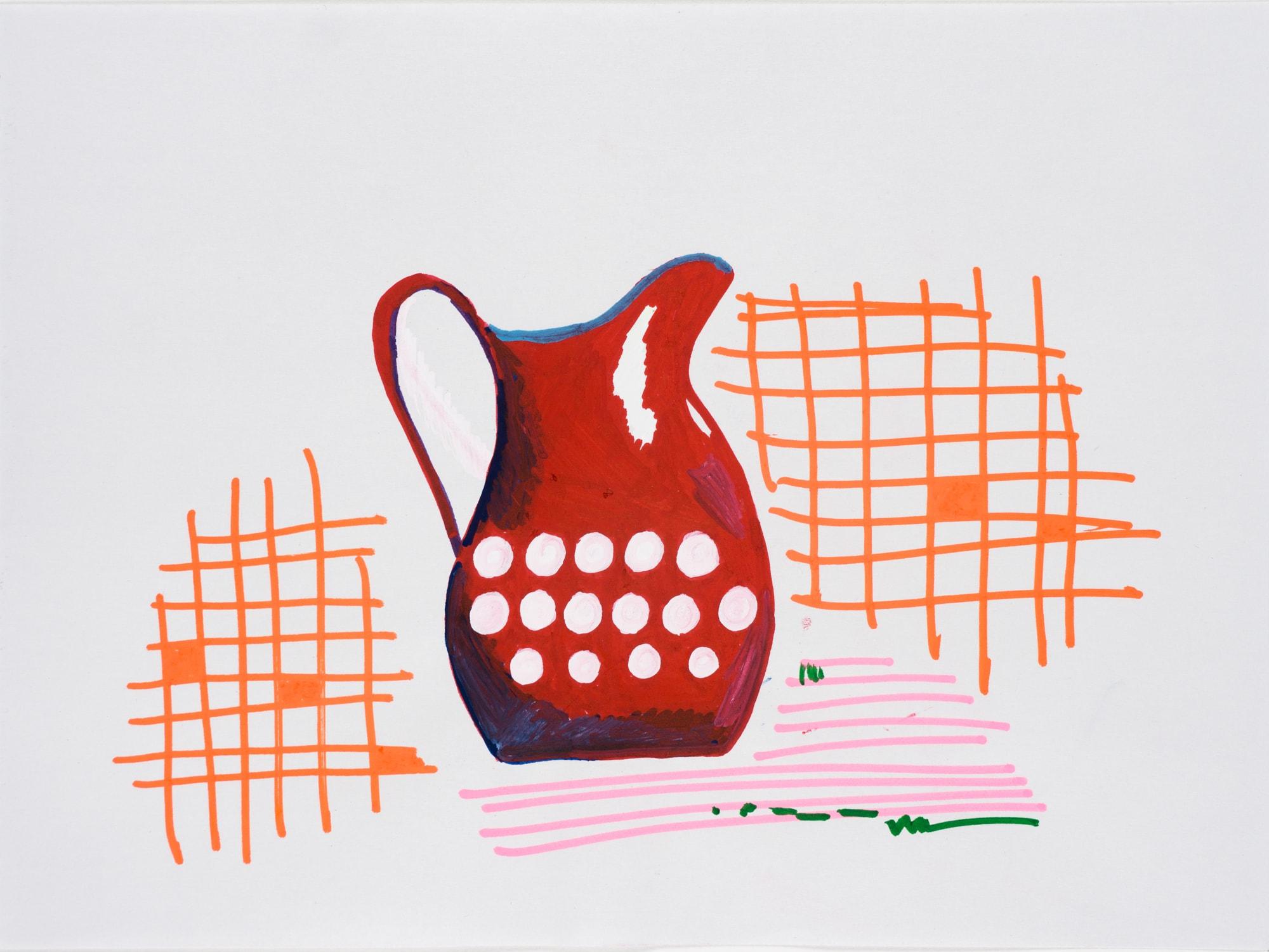Zeichnung, Acrylmarker auf Papier,28,5x21cm, roter Krug, Künstlerin: Franziska King