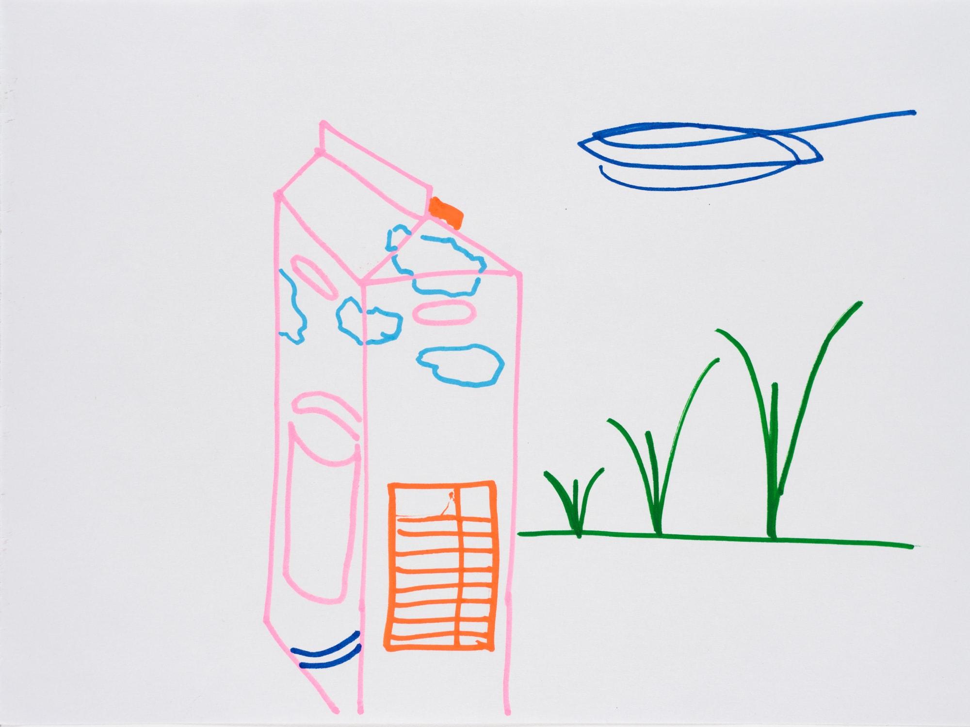 Zeichnung, Acrylmarker auf Papier, 28,5x21cm, Wolken in Milchpackung , Künstlerin: Franziska King