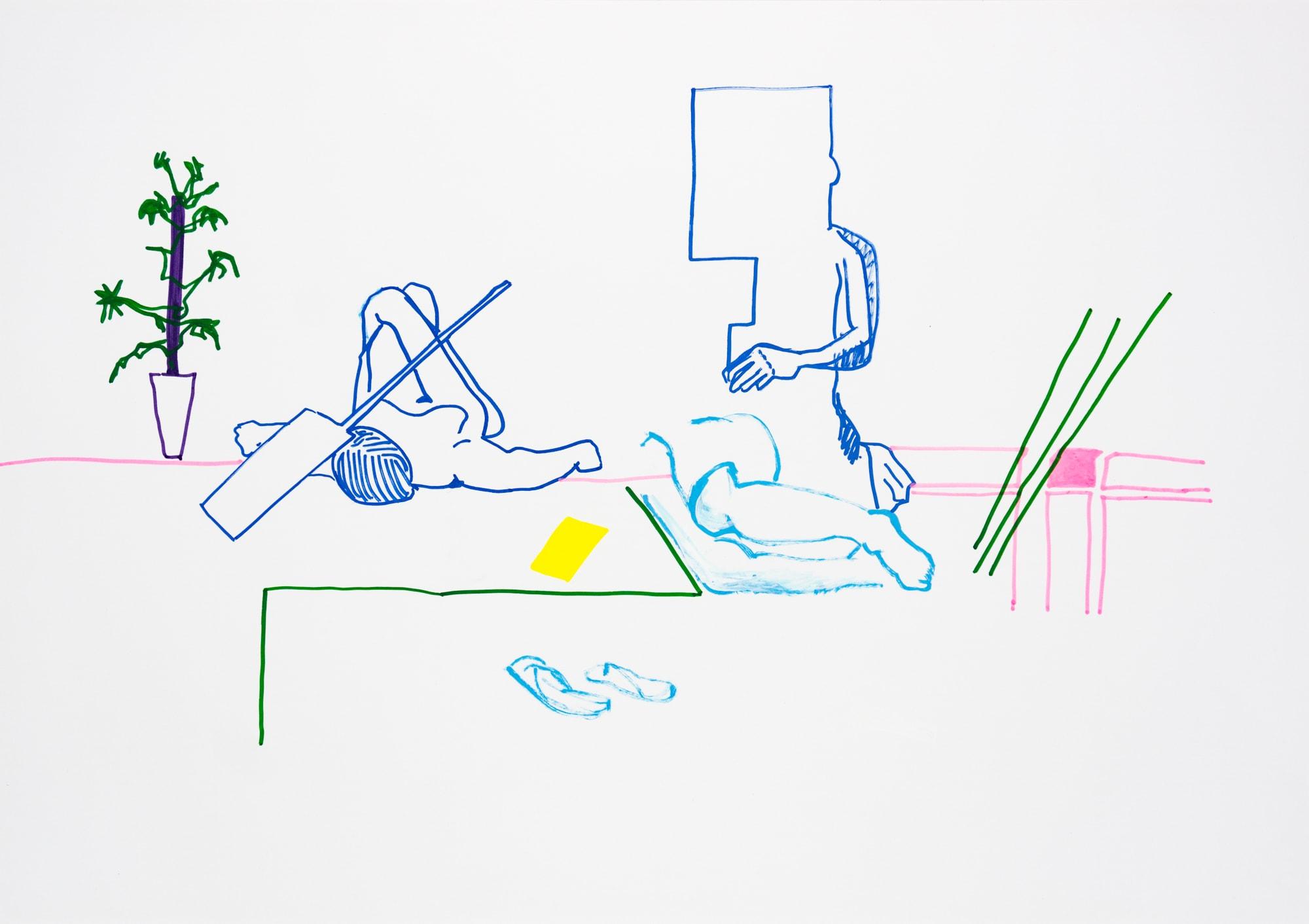 Zeichnung, Acrylmarker auf Papier, 59,4x42cm, Akt, Künstlerin: Franziska King
