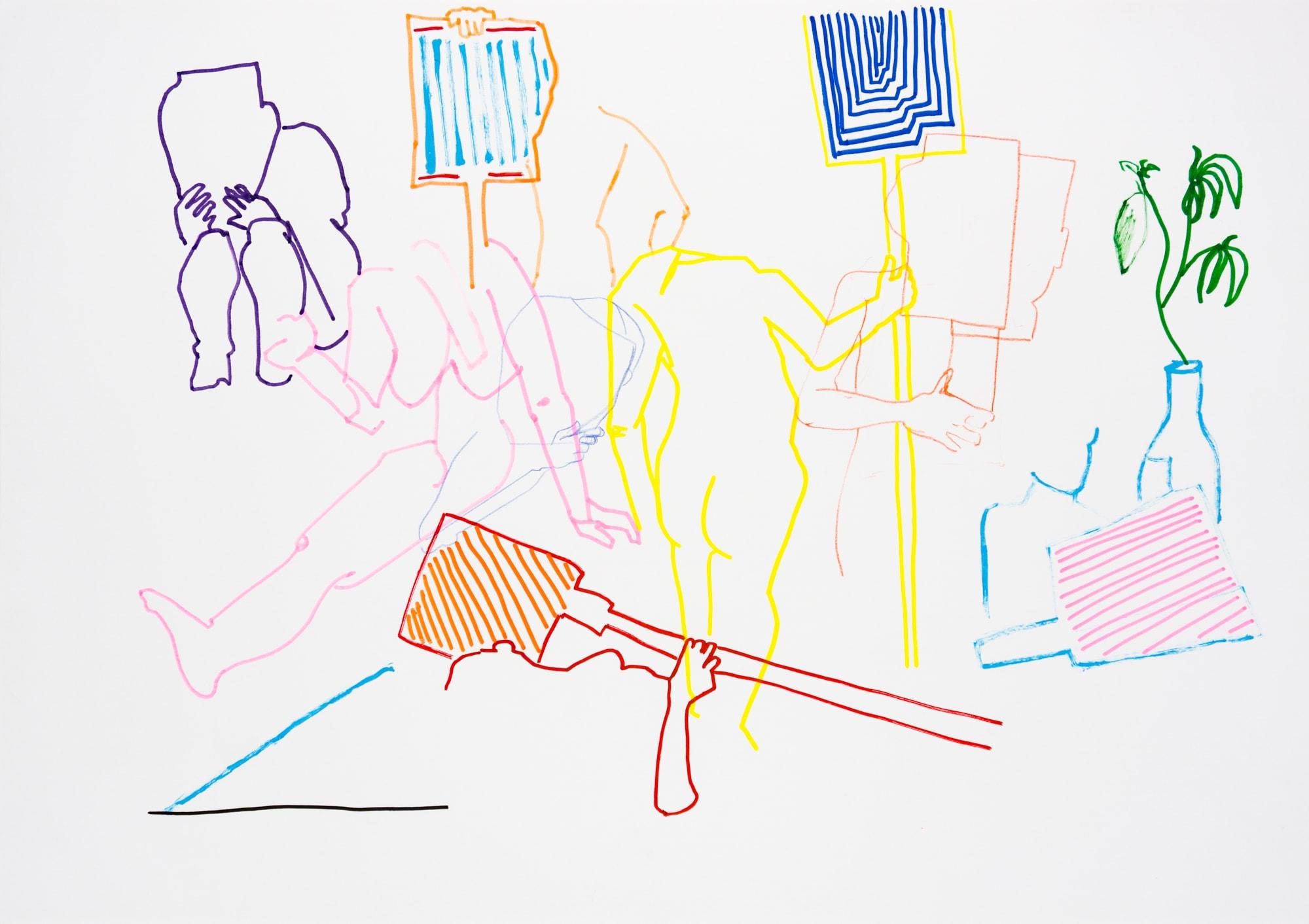 Zeichnung, Acrylmarker auf Papier, 59,4x42cm, Akt?, Künstlerin: Franziska King