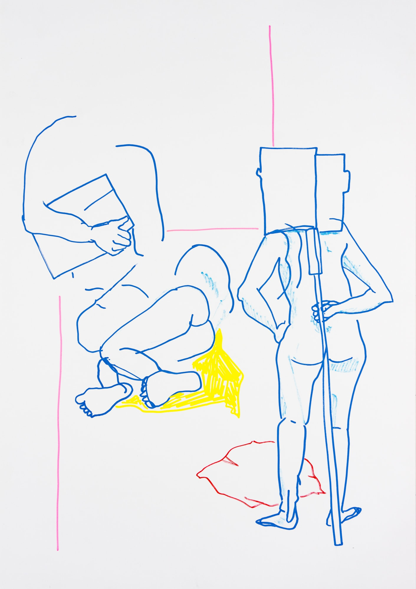 Zeichnung, Acrylmarker auf Papier, 42x59,4cm, Akt, Künstlerin: Franziska King