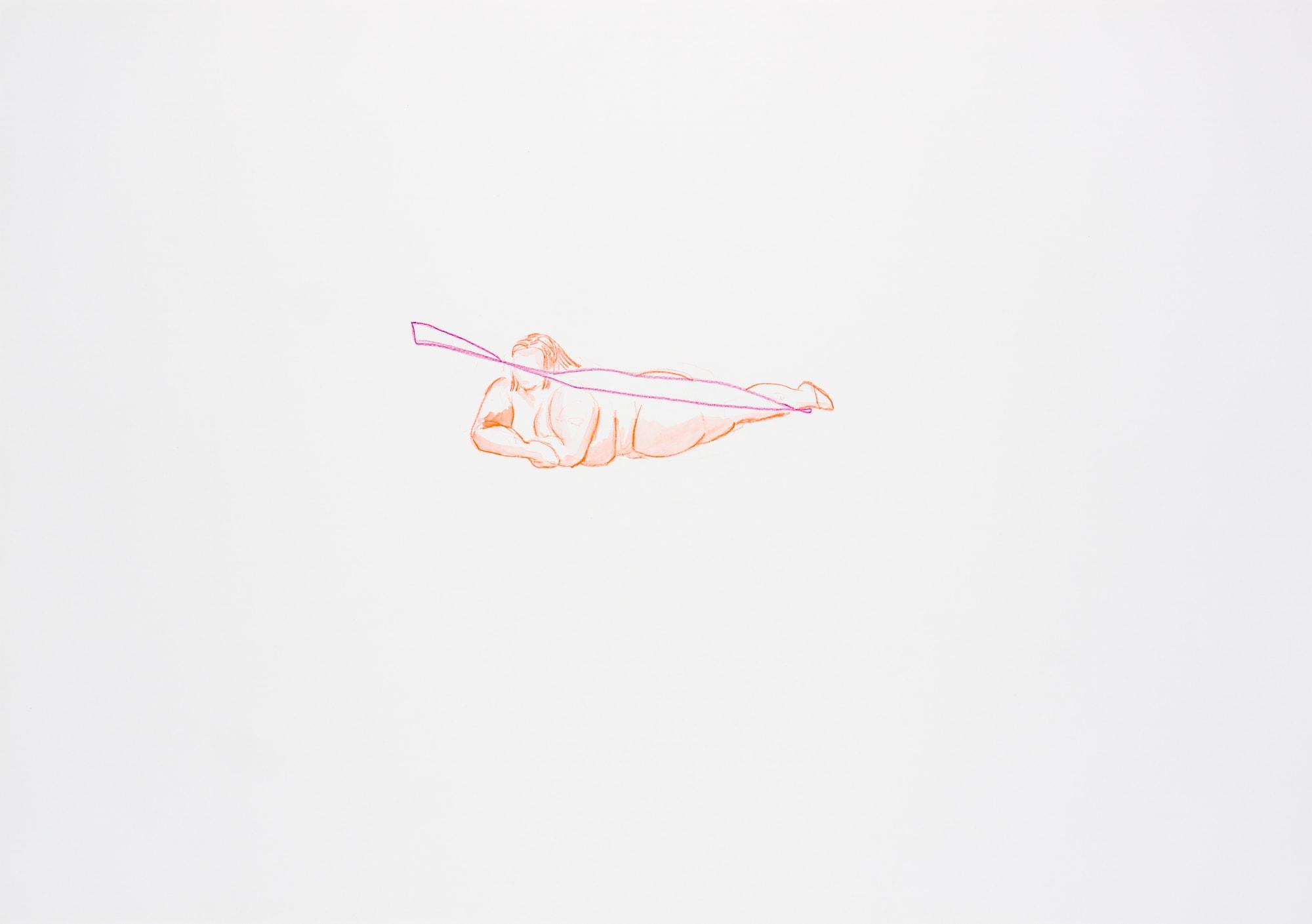 Zeichnung, Aquarell und Farbstift auf Papier, 59,4x42cm, Akt, Künstlerin: Franziska King