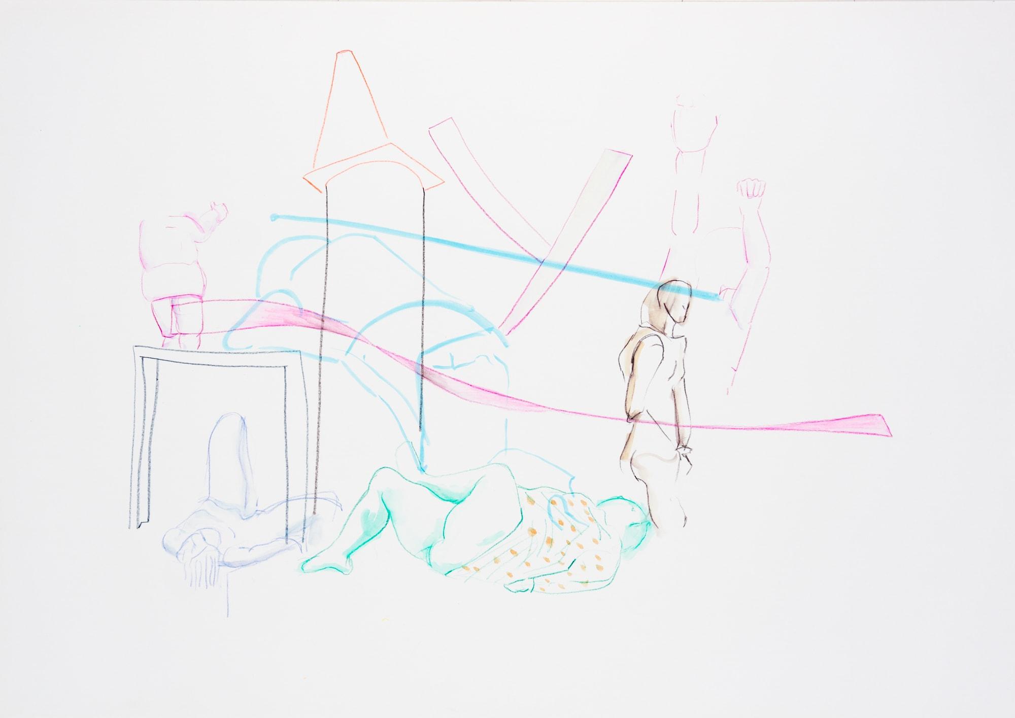 Zeichnung, Acrylmarker, Aquarell und Farbstift auf Papier, 59,4x42cm, Akt, Künstlerin: Franziska King