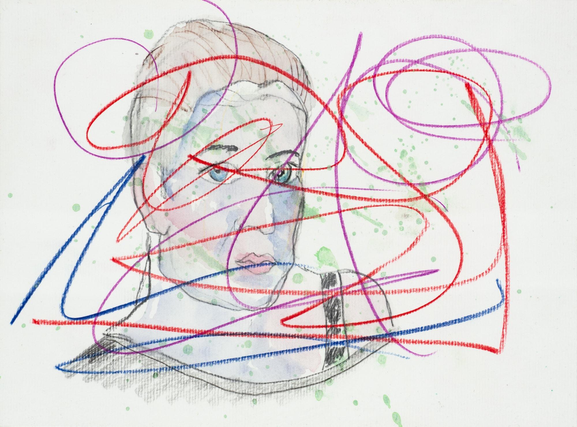 Zeichnung, Aquarell und Farbstift auf Papier, 28,2x20,9cm, Portrait, Künstlerin: Franziska King