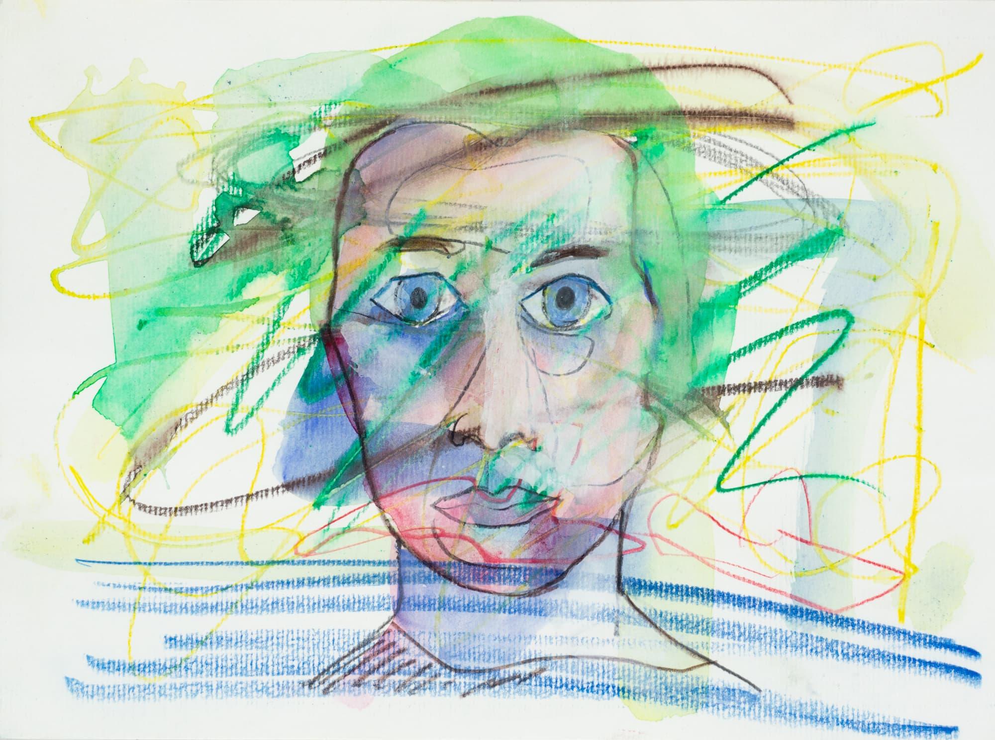 Mischtechnik, Aquarell und Farbstift auf Papier, 28,2cm x 20,9cm, Portrait, artist: Franziska King