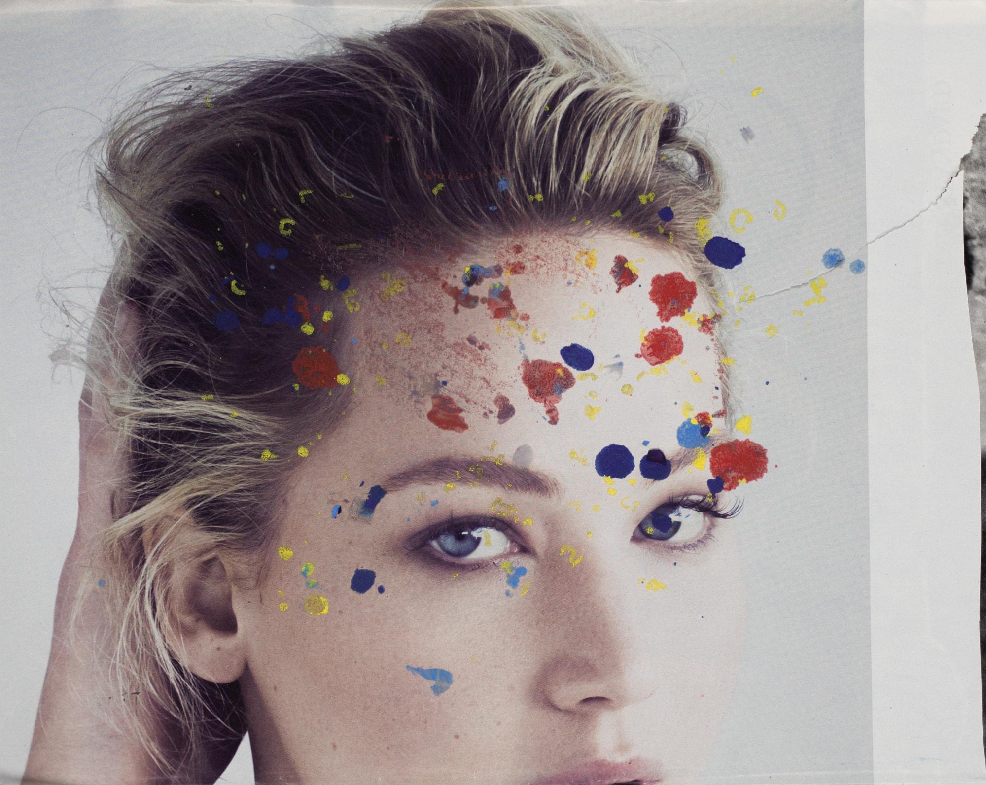 Zeichnung, Ölkreide auf Zeitungsausschnitt, 28x22,5cm, Portrait, Künstlerin: Franziska King