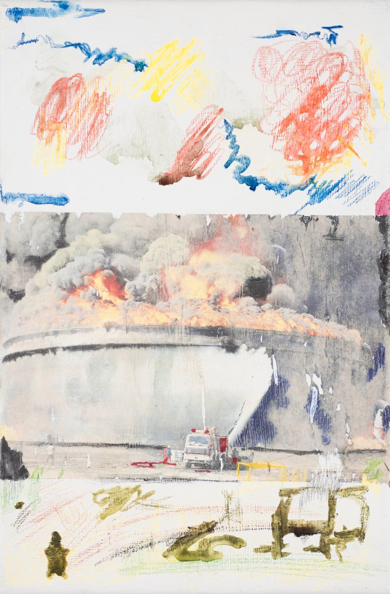 Zeichnung, Öl auf Leinwand, 20x30cm, Großbrand, Künstlerin: Franziska King