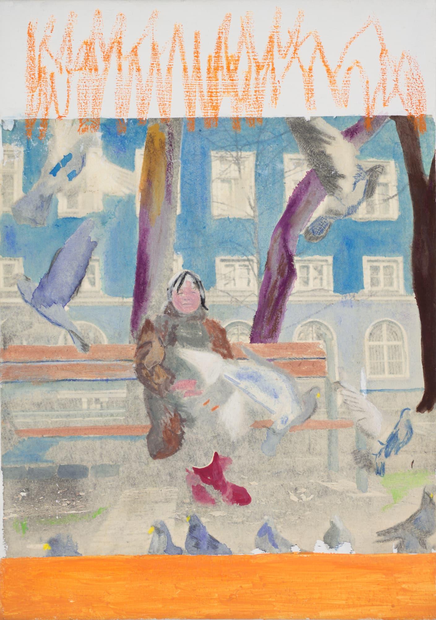 Zeichnung, Farbstift und Öl auf Leinwand, 25x35cm, alte Frau auf Parkbank, Künstlerin: Franziska King