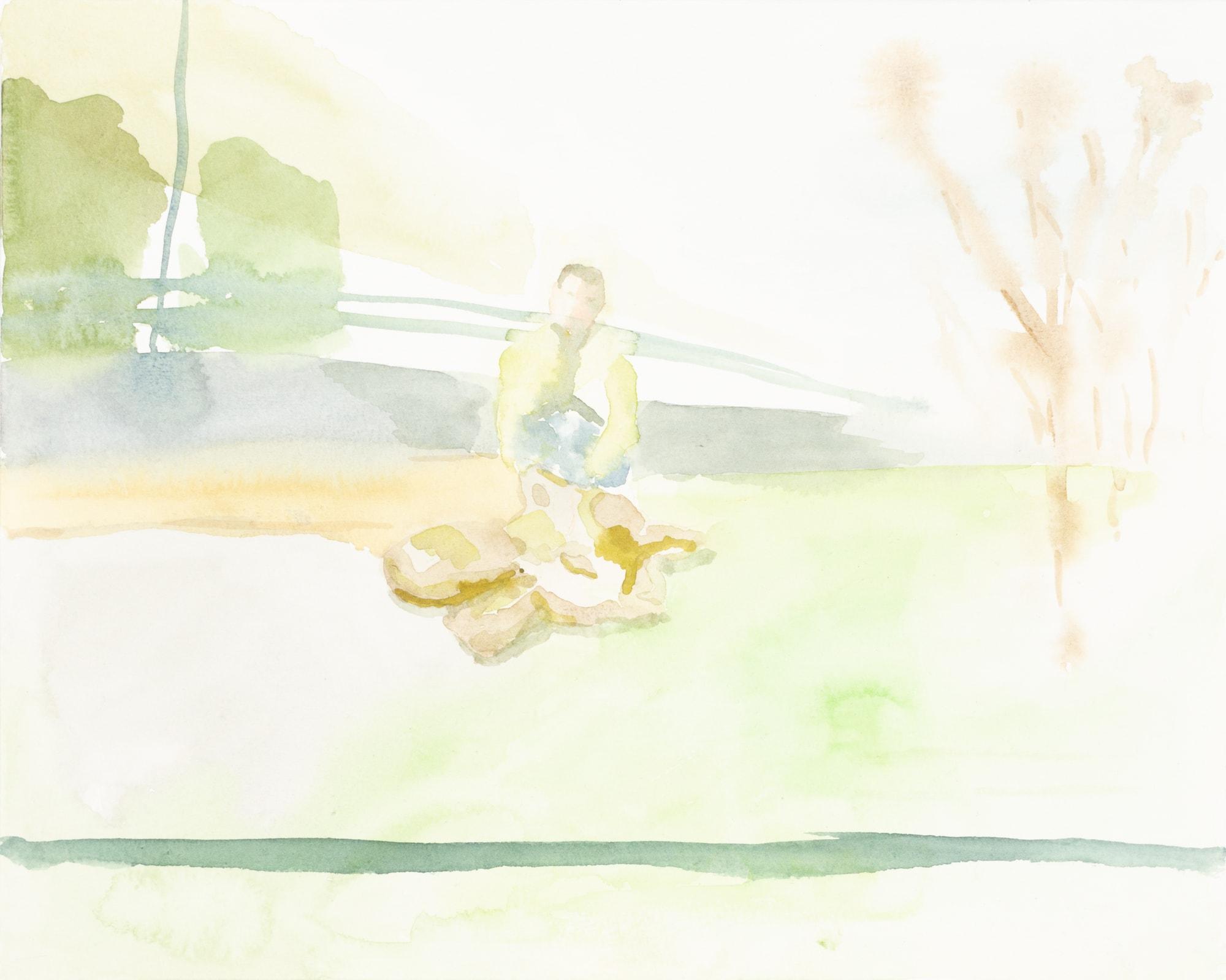 Zeichnung, Aquarell auf Papier, 30x24cm, Spurensicherung im Park, Künstlerin: Franziska King