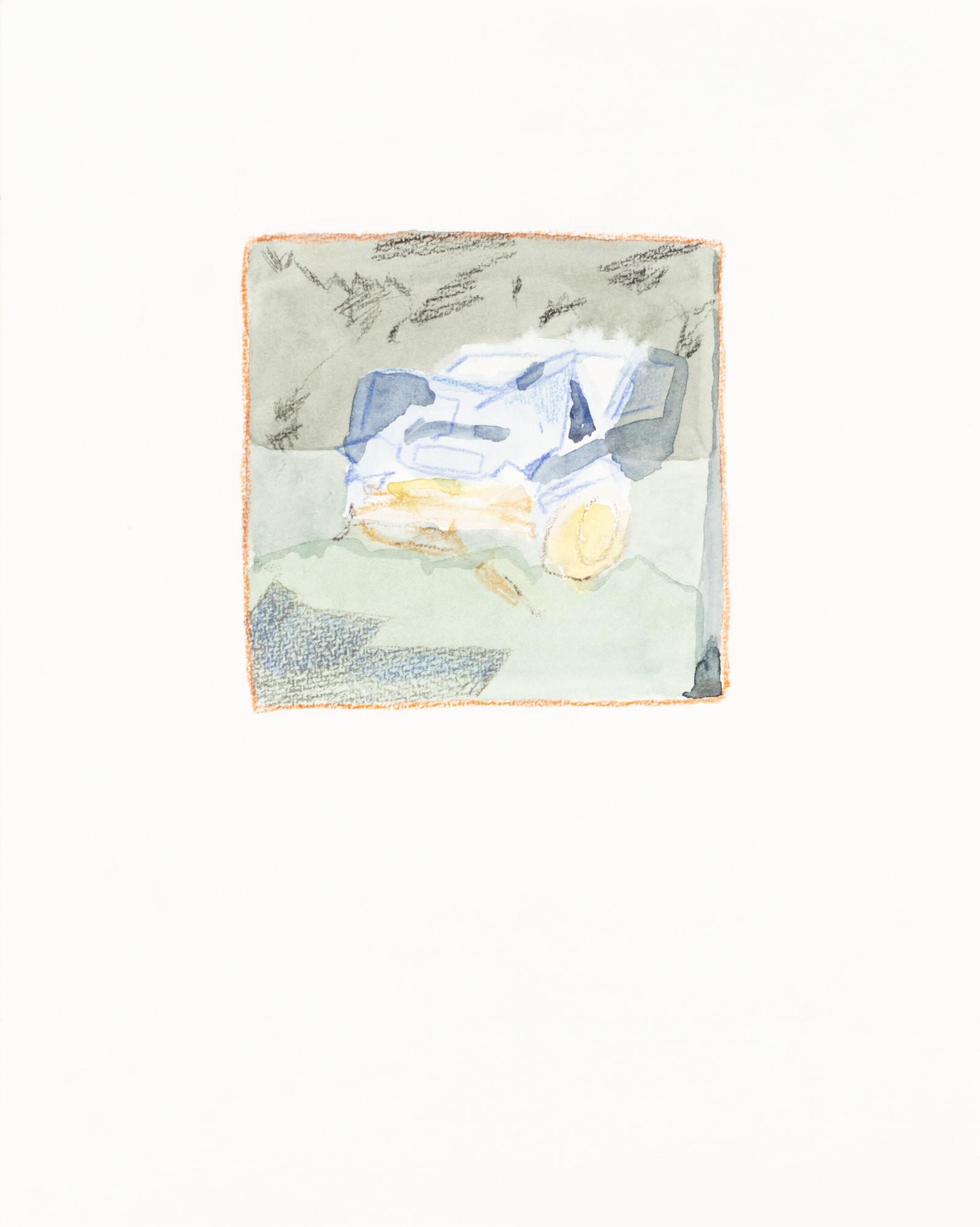 Zeichnung, Aquarell und Farbstift auf Papier, 24x30cm, abstrakt Fahrzeug, Künstlerin: Franziska King