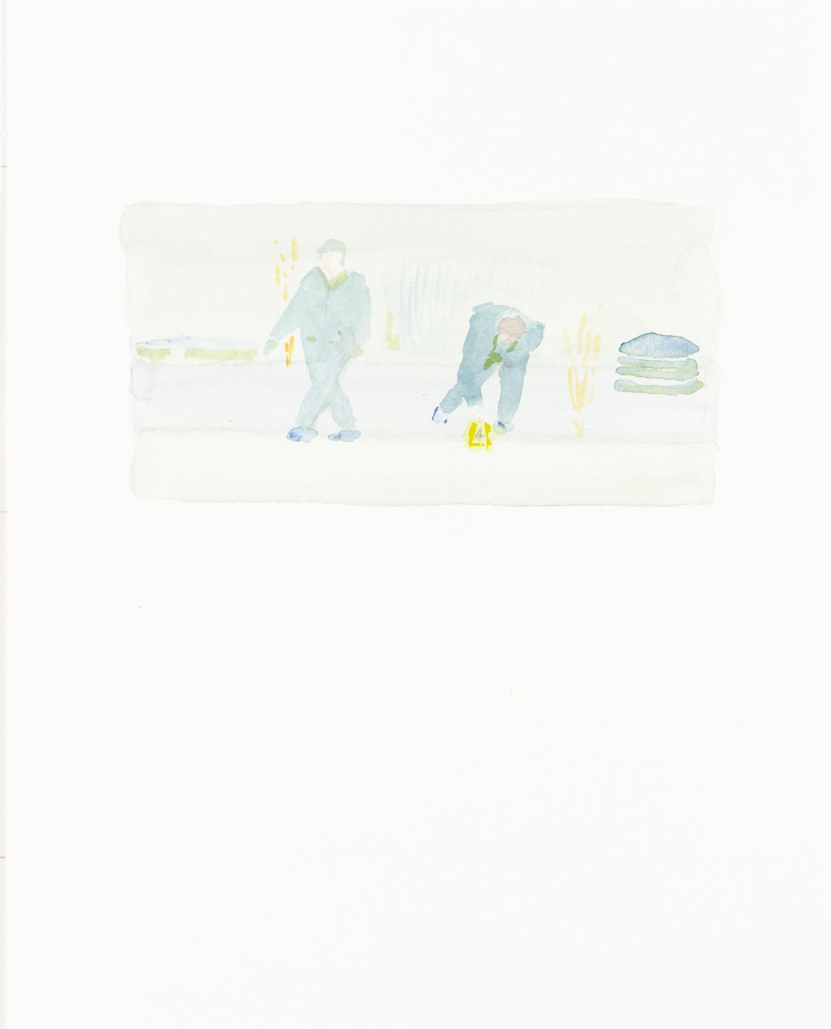 Zeichnung, Aquarell auf Papier, 24x30cm, Spurensicherung, Künstlerin: Franziska King